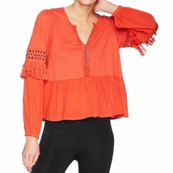 Lucky Brand Tops - NWT Lucky Brand Orange Peplum Tassel Boho Blouse